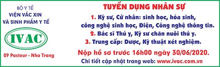 Viện Vacxin Nha Trang tuyển dụng